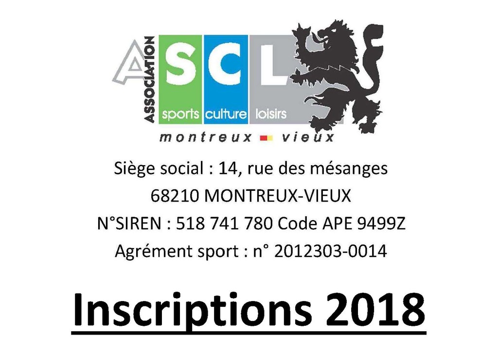 Inscriptions 2018